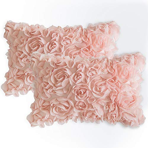 MIULEE Pack of 2 3D Decorative Romantic Stereo Chiffon Rose Flower Pillow Cover Solid Square Pillowcase for Sofa Bedroom Car 12x20 Inch 30x50cm Peach Pink (Shams Pillow Blush)