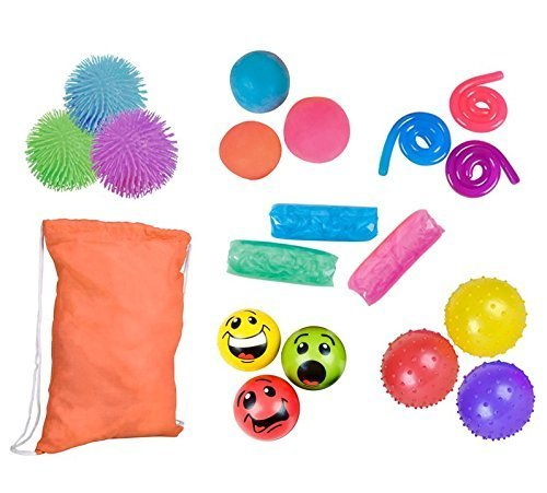 18pc Sensory Fidget Toy Bundle- Emoji Smile Face Stress Balls - Knobby Balls - Puffer Balls - Pull/Stretch Balls - Stretchy String - Water Wigglers - ADHD Therapy - Stress Relief Gift Assortment -