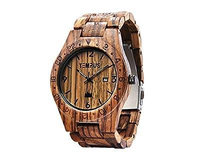 TEMPUS Afrikaans - Men's Zebra Wood Watch Wristwatch GMT Bezel Design - TWW-001