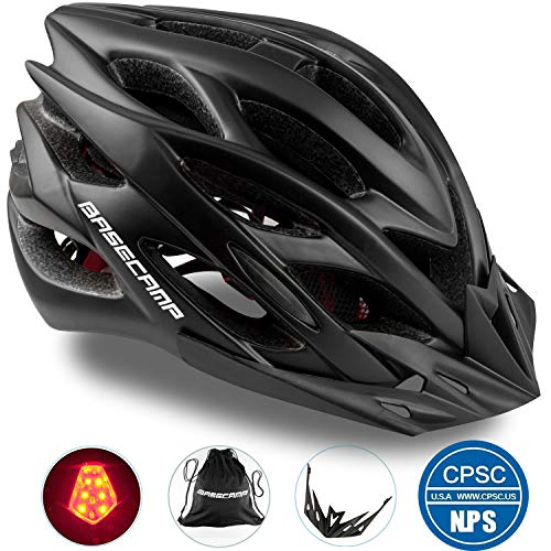Basecamp Specialized Bike Helmet with Safety Light,Adjustable Sport Cycling Helmet Bicycle Helmets for Road & Mountain Motorcycle for Men&Women,Youth Safety Protection (Black with Big Light)