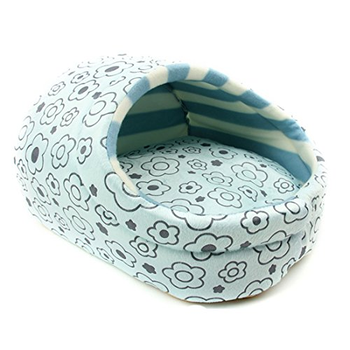 Spring fever Plush Slipper Washable Cushion Pet Bed Small Cat Dog Play House B-Blue S(14.213.89.8 inch up to 3kg)