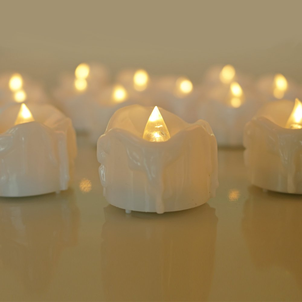Micandle 12pcs Warm White Flickering Flashing Light LED Tea Light Flameless Candles, Wax Dripped Battery-powered LED Tealights For Wedding Christmas Outdoor Party