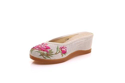 Zapatillas Bordadas de Lino Zapatillas Chinas de Pendiente y antigüedades: Amazon.es: Zapatos y complementos