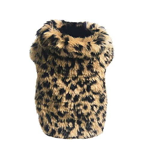 Howstar Pet Winter Oufit Warm Coat Dogs Cute Leopard Woolen Clothes Puppy Cat Soft Apparel Costume (XS, Brown)