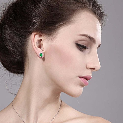 Gem Stone King 1.16 Ct Oval Green Nano Emerald 925 Sterling Silver Stud Earrings with Jackets