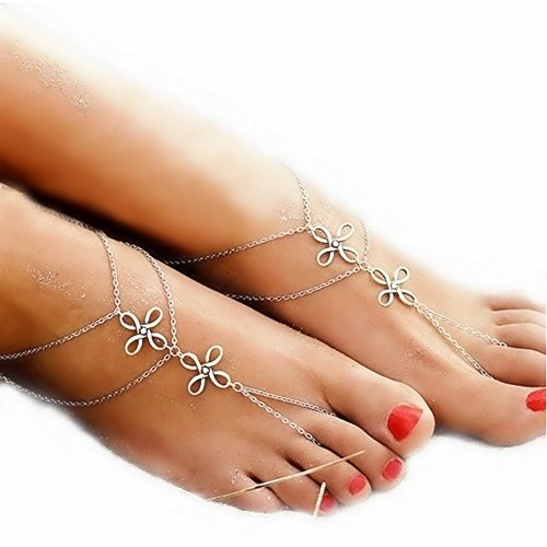San Tokra Antique Silver Barefoot Sandals Footchain Chinese Knot Ankle Bracelet Beach Wedding Jewelry