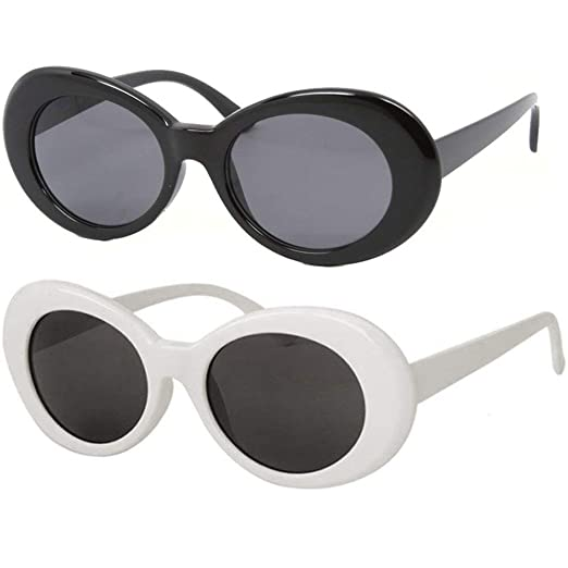 99257babb32 Bold Retro Oval Mod Thick Frame Sunglasses Clout Goggles with Round Lens  51mm (Black   White) at Amazon Women s Clothing store