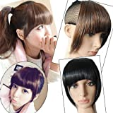 Womens Girls Clip in Clip-on False Bang Front Finge Hairpiece Hair Ornament Decoration 100% Heat Resisting Synthetic Neat Fringe Hair Extensions Headwear Hairpiece Wig Accessories Pp01