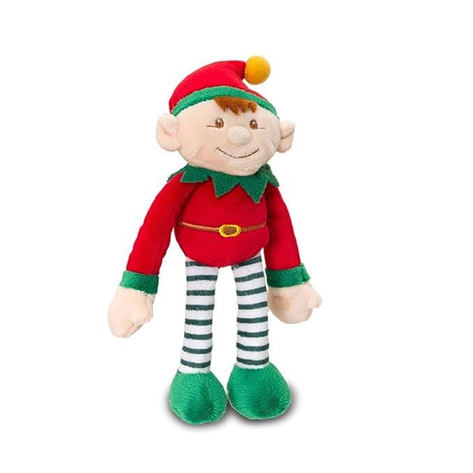 35cm Elf Peluche Peluche Dressed In Red & Green Avec Rattle - Noël Stocking Fillers