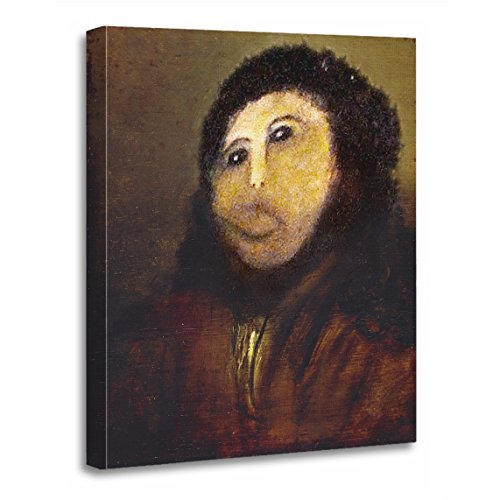 "TORASS Canvas Wall Art Print Restoration Funny Botched ECCE Homo Painting Internet Artwork for Home Decor 16"" x 20"""