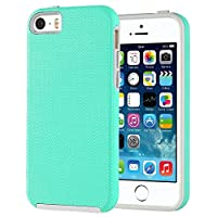 iPhone 5 Case, iDoer Ultra Slim Dual Layer Combo Shock-Absorbing Scratch-Resistant Rugged Bumper Protective Cover For iPhone 5/5S/SE Mint