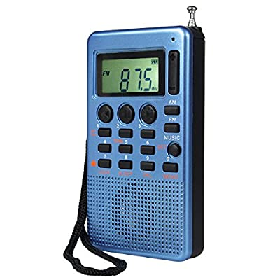 TIVDIO MR-12 Pocket AM FM Stereo Radio with Micro SD T-Flash Card MP3 Player Speaker AUX Input Sleep Timer (Blue) from TIVDIO