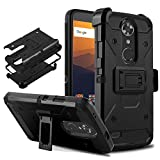 """DONWELL Compatible with ZTE Max XL Resistant Shockproof Armor Cell Phone Case Cover with Kickstand Belt Clip Holster Compatible with ZTE Max XL/N9560/N986DL 6.0"""""""