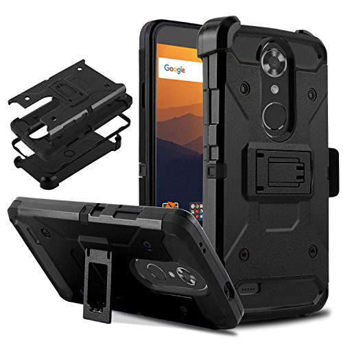 "TE Max XL Resistant Shockproof Armor Cell Phone Case Cover with Kickstand Belt Clip Holster Compatible ZTE Max XL/N9560/N986DL 6.0"" (Black) ()"