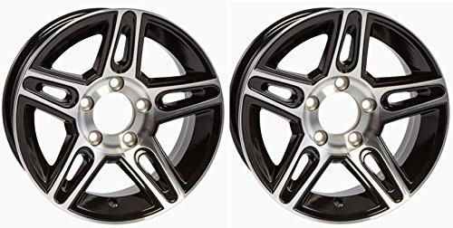 eCustomRim TWO (2) Aluminum Sendel Trailer Rims Wheels 5 Lug 14″ Pinnacle Black Style