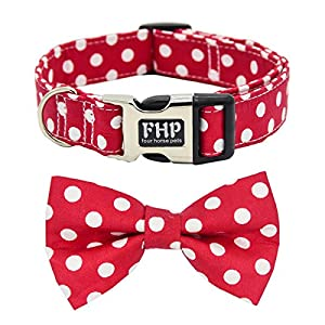 Fourhorse Cute Soft Dog And Cat Collar with Bowtie, Detachable Adjustable Bow Tie Collar Pet Gift (L, Red Dot)