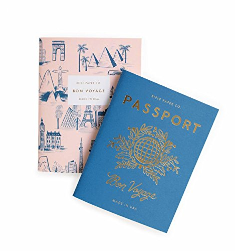 Rifle Paper Passport / Bon Voyage Passport Pocket Size Journal Notebooks, Set of 2 Notebooks