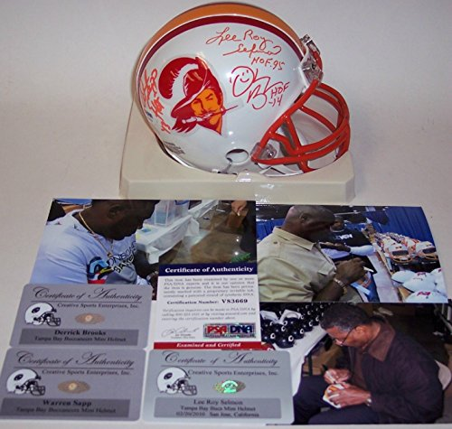 Lee Roy Selmon, Warren Sapp & Derrick Brooks Autographed Hand Signed Bucs Mini Helmet - PSA/DNA (Brooks Helmet Autographed)