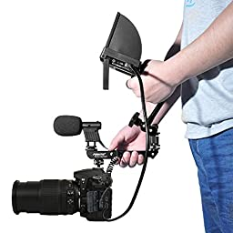 Fomito Hand-held Shooting Handle Cold Shoe Extender Video Stabilizing Aluminum for Canon EOS, Nikon, Olympus & Pentax DSLR Camera, Connecting Microphone, Led Video Light, Monitor