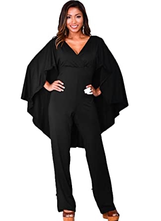 989d7044c04 Enggras Women s Plus Size Pleated V Neck Club Party Jumpsuit with Attached  Flowing Cape Black L
