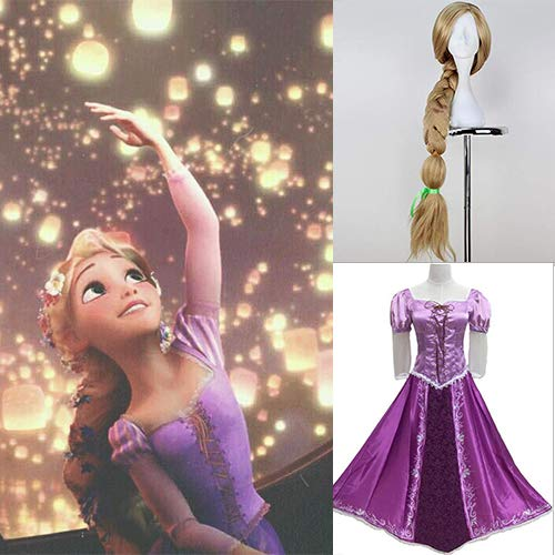 IVY HAIR Tangled Halloween Cosplay Costume Princess Rapunzel Dress Gown Outfit Suit And Cosplay Wig For Girls]()