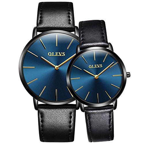 OLEVS Men Women Romantic Rose Golden Ultrathin Leather Band Quartz Wrist Watches for Couples Set of 2 Pcs by OLEVS