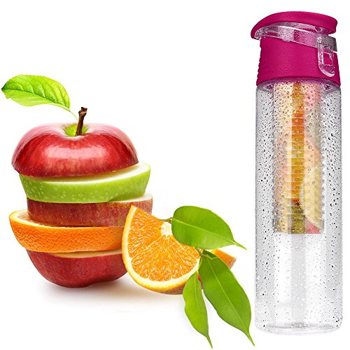 Yu2d  800ML Fruit Infusion Infusing Infuser Water Bottle Sports Health Maker(Hot Pink) -