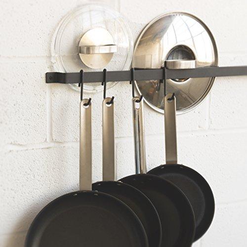 WALLNITURE Kitchen Rail Organizer Iron Hanging Utensils Rack with Hooks Frosty Black 30 Inch by Wallniture (Image #1)