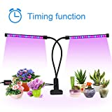 Timing Grow Light, morease Dual Head 36 LED Grow Lamp Bulb for Indoor office Greenhouse Gardening Hydroponics Plants with 3/6/12H Auto-off Timer, 5 Dimmable Levels, 360° Adjustable Neck [2018 UPGRADE]
