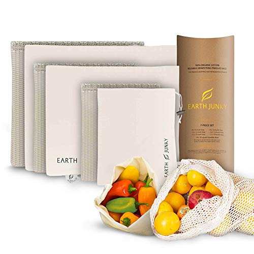 Reusable Produce Bags Washable - Mesh Produce Bags for Fruit and Vegetable Storage - 7 Piece Set - 6 Food Muslin Grocery Bags and Bonus Greens Swaddle Sheet - Eco Friendly Drawstring Bag Set - S, M, L