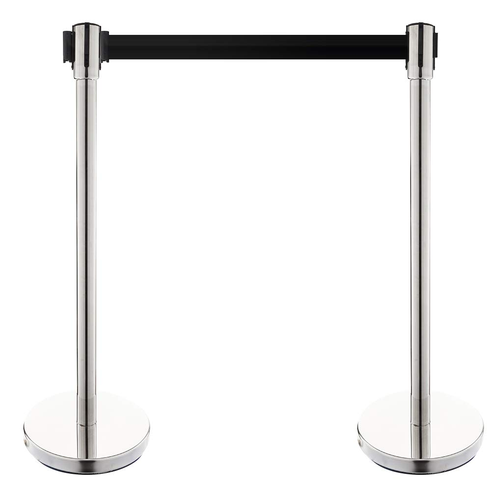 Mefeir 2pcs Stanchion Posts Queue Pole, 6.5 Feet Retractable Belt,Crowd Control Barrier,Concierge Columns Silver
