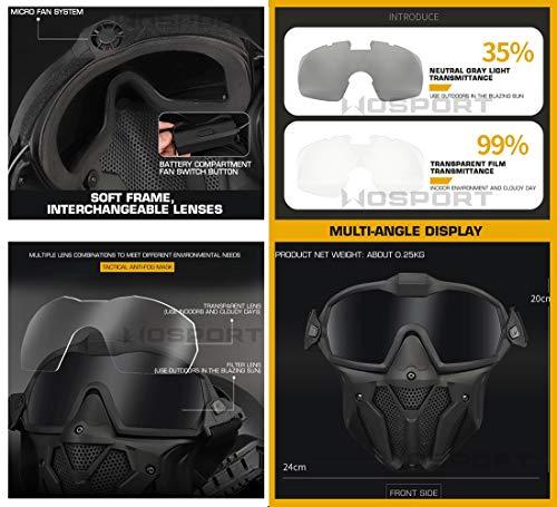 QZY Casque Rapide Tactique MK New Type avec Masque De Ventilateur Intégré Anti-Buée,WST Casque Avancé De Type Saut… 4