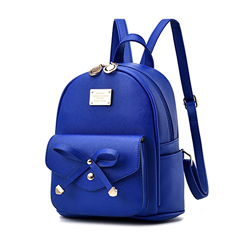 Leather Cute with Bow Backpack Mini Wallet Backpack Girl Blue qPgt6q