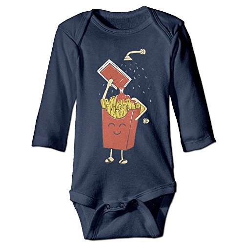 Baby Bodysuit Cartoon Chips Washing With Ketchup One Piece Baby Long Sleeve Neborn Jumpsuit 12 Months Navy - Chip On The Shoulder Costume