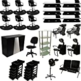 LCL Beauty Professional 6 Station Package Styling Chair & Station, Backwash Unit, Anti Fatigue Mats Complete Salon Spa Beauty Equipment