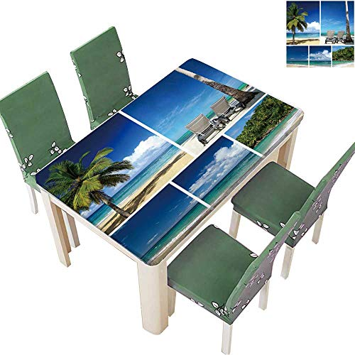 Printsonne Indoor/Outdoor Tropical Collage Beach with Palm and Chaise Longues Kitchen Tablecloth Picnic Cloth 52 x 108 Inch (Elastic Edge)
