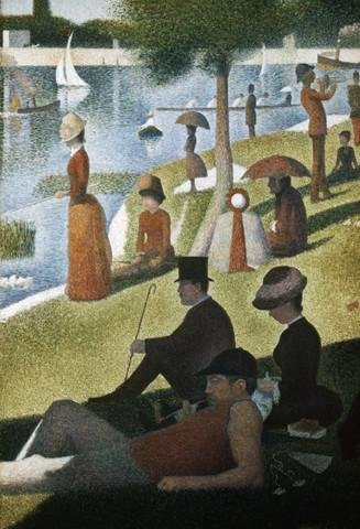 Detail from Sunday Afternoon on the Island of La Grande Jatte by Georges Seurat Wall Mural - 36 Inches H x 25 Inches W - Peel and Stick Removable Graphic