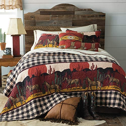 Full//Queen Rods Walk Trot Canter Southwestern Santa Fe Quilted Bedding