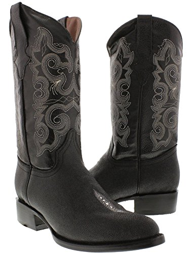 Texas Legacy - Men's Black Stingray Single Stone Print Leather Cowboy Boots Round 10 (Ray Western Print)