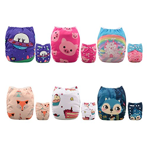 ALVABABY Baby Cloth Diapers 6 Pack with 12 Inserts Printed Designed Washable and Reusable Dipaers Fitted for Baby Girls 6DM04D