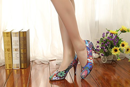 Wedding Pumps GL254 MINITOO Classic Dancing Floral Shoes UK Printed Satin 7 Blue Ladies Social CpwZCgxqa