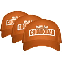 NaMo Merchandise Set of 3 - Main Bhi Chowkidar - Caps Orange