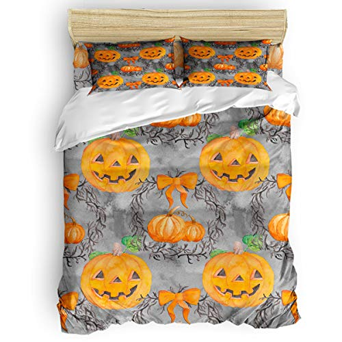 OUR WINGS 4 Piece Duvet Cover Twin Luxury Soft Comforter Cover Halloween Pumpkin Smiley Face Modern Bedding Collection Cover for Kids Women Teens