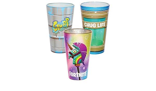 Fortnite juego de vasos de pinta 3 unidades - 16 oz.: Amazon ...