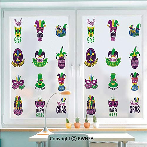 RWNFA Removable Static Decorative Privacy Window Films Set of Carnival Masks Hats and Fleur De Lis Symbols Colorful Joyous Collection Decorative for Glass (22.8In. by 35.4In),Multicolor