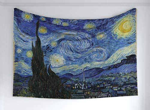 Starry Night Scene - Ambesonne Starry Night Tapestry, Famous Painting