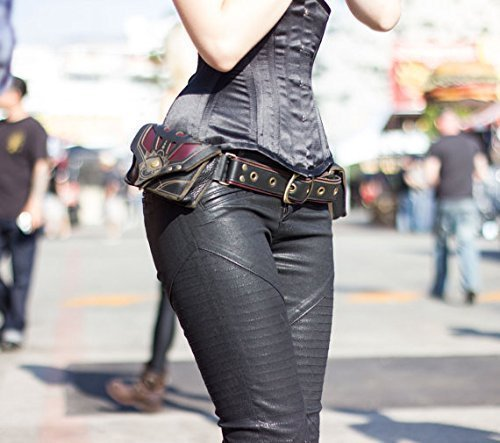 Pocket belt ''Orthrus'' Red/Black Leather by Subverse