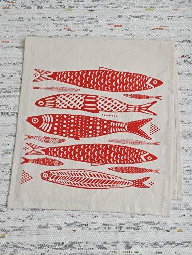 Printed Tea Towel - Tea Towel - Organic Cotton - Fish Design in Red - Screen Printed - Flour Sack