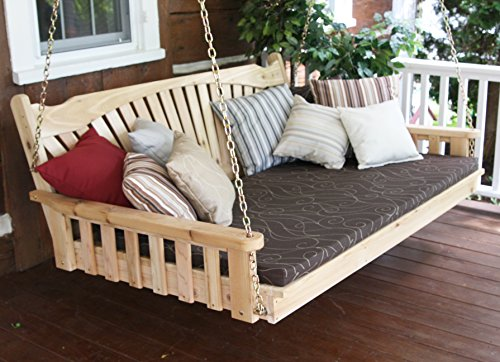 BEST PORCH SWING BED, Outdoor Swinging Daybed, Patio Day Bed Swings, Hanging 3 Person Bench, Unique Western Red Cedar Outside Furniture Decor, Fanback (6 Ft Unfinished 2