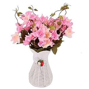 DealMux Plastic Home Restaurant Artificial Rose Vase Handmade DIY Desktop Table Decor Flower Pink 118